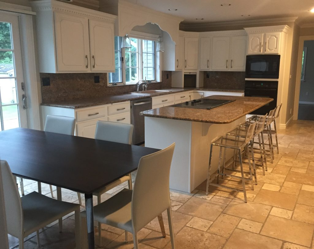 Bedford: Kitchen : repainted cabinets, new hardware, pendant lighting, kitchen table and chairs and stools